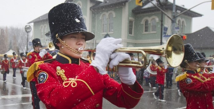 band in a christmas parade