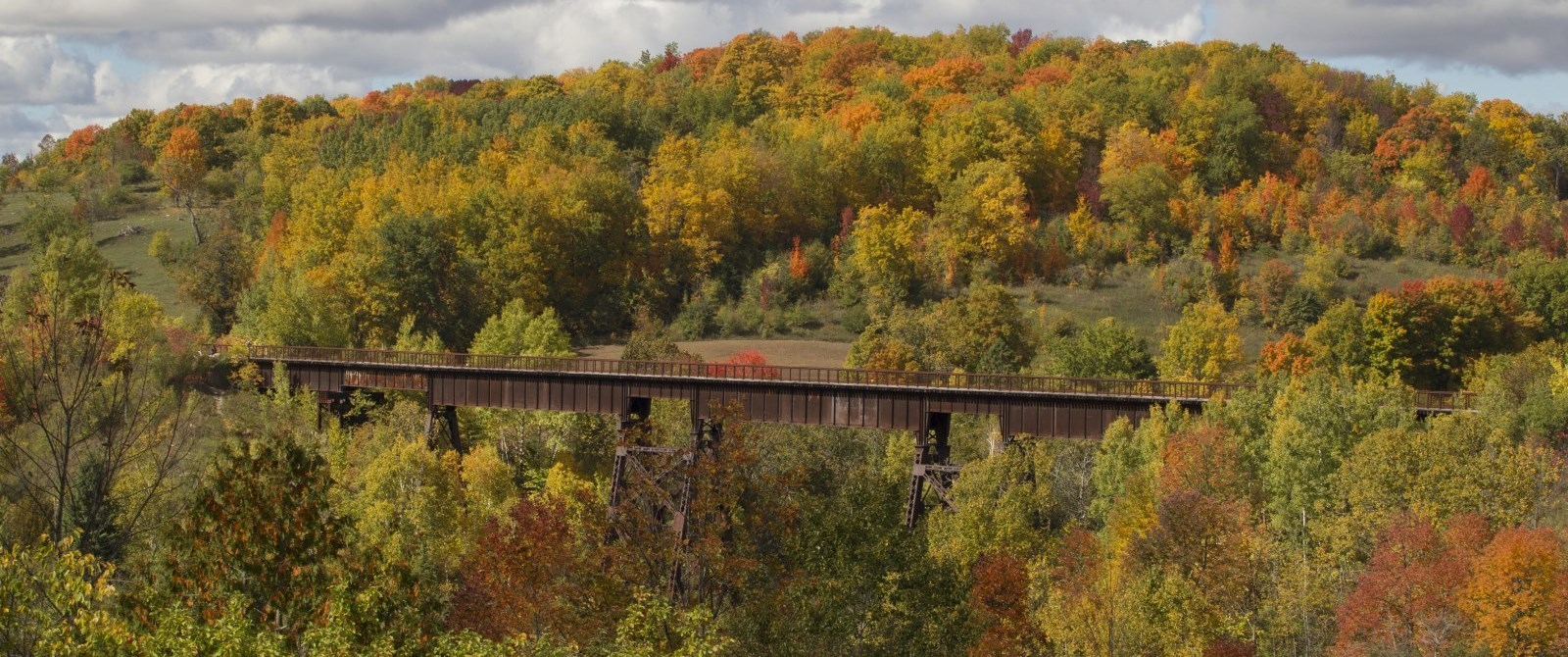 Fall image of Doubes Trestle Bridge on the Trans Canada Trail
