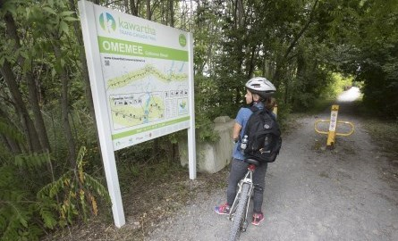 cyclist looking at the omemee map of the trans canada trail